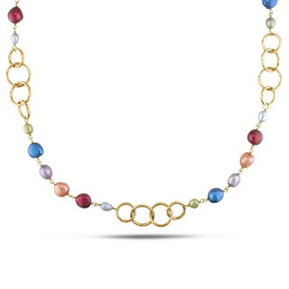 Miadora Goldtone Multi-colored FW Pearl Link Necklace (5-11 mm)