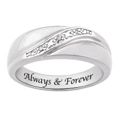 Shop Sterling Silver Diamond Accent Always Forever Band Free