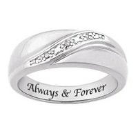 Sterling Silver Diamond Accent Always Forever Band