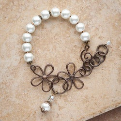 Brass Classic Vintage Glass Bead Flower Bracelet