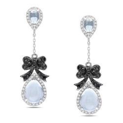 Miadora Signature Collection 14k White Gold 3/5ct TDW Diamond and Blue Topaz Earrings (G-H, SI1)