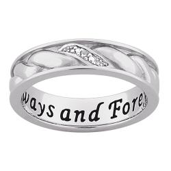 Sterling Silver Diamond Accent 'Always and Forever' Band