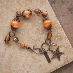 Vintage Brass 'Wish Upon a Star' Aventurine Bracelet