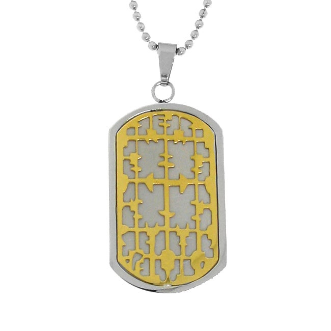 Stainless Steel Two-tone Cross Dog Tag Necklace