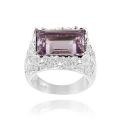 Icz Stonez Rhodium-plated Purple Crystal and Cubic Zirconia Ring