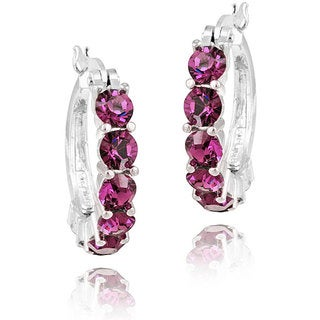 Crystal Ice Rhodium-plated Purple Crystal Hoop Earrings