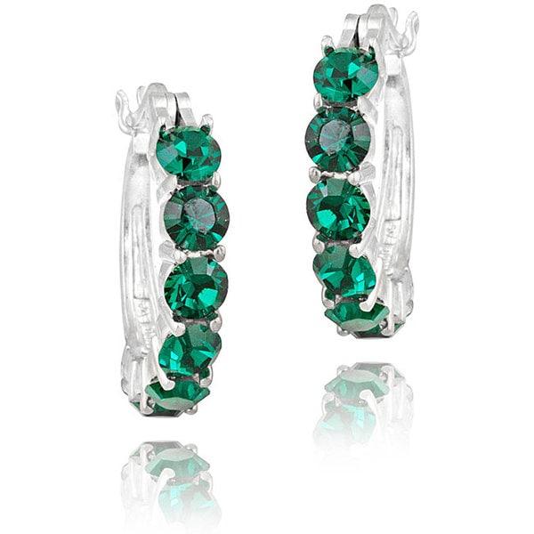 Crystal Ice Rhodium-plated Emerald Green Crystal Hoop Earrings
