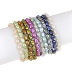 Glitzy Rocks Multi-colored FW Pearl Stretch Bracelets (Set of 10) (4.5mm /6 mm)