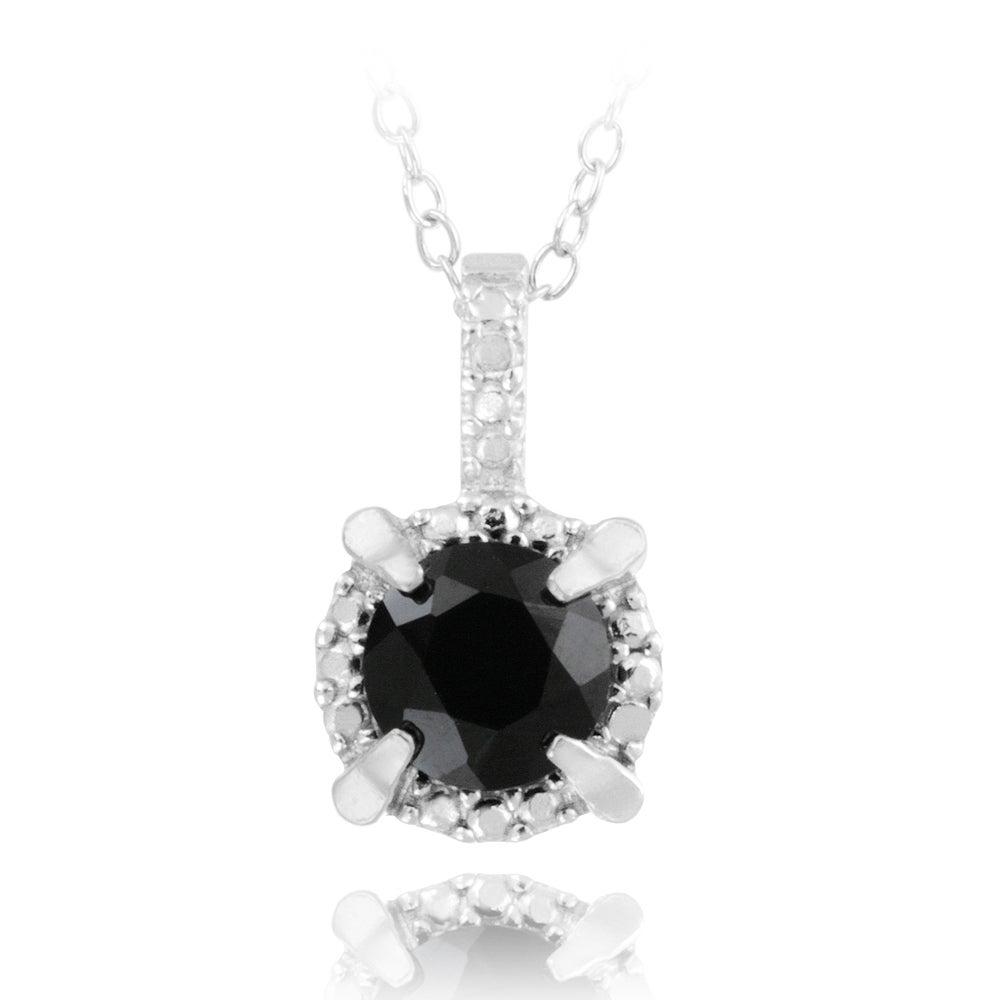 Glitzy Rocks Sterling Silver 1 3/5ct TGW Round Black Spinel Necklace