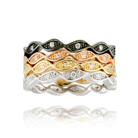 Icz Stonez Multi-color Plating Cubic Zirconia Stackable Eternity Rings (Set of 4)