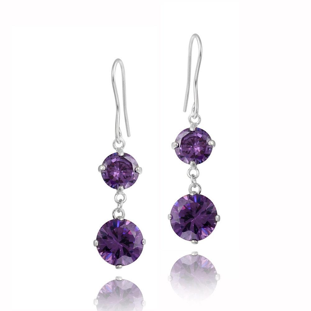 Icz Stonez Rhodium Plated Purple Cubic Zirconia Earrings