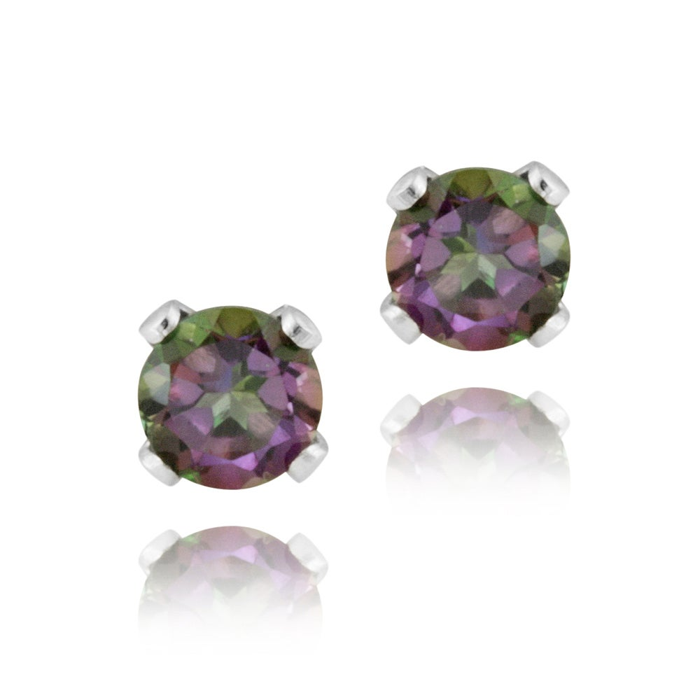 Glitzy Rocks Sterling Silver 3 Mm Mystic Topaz Stud Earrings
