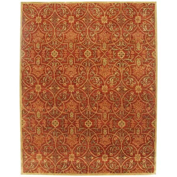 Orosius Hand-tufted Red Wool Rug (2' x 3')