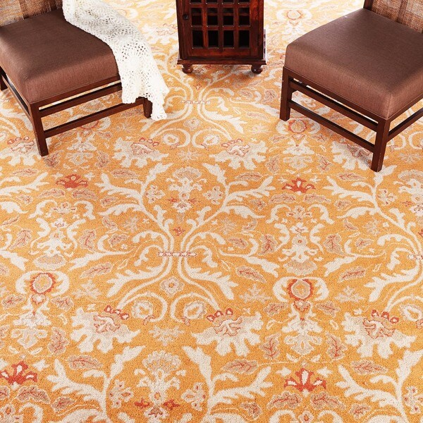 Valgus Hand-tufted Orange/ White Wool Rug (9'6 x 13'6)