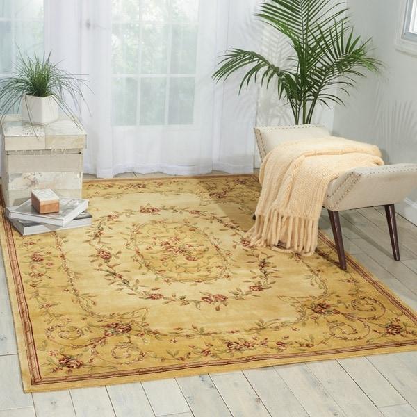 """Nourison Chambord Beige Floral Rug (5'6 x 7'5) - 5'6"""" x 7'5"""""""