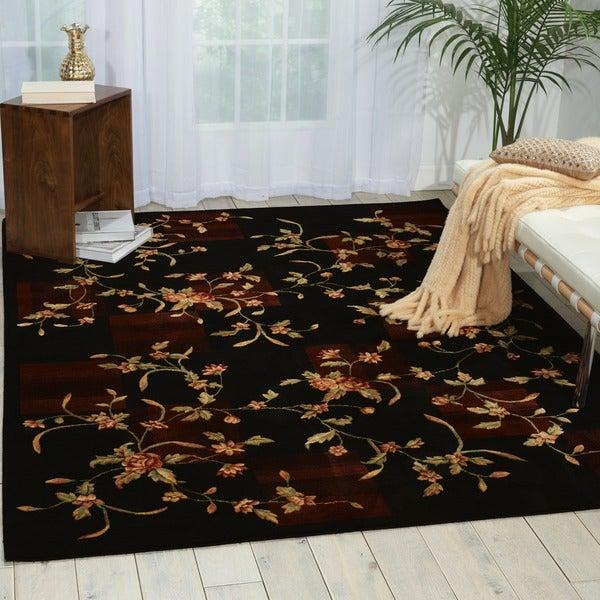 Nourison Chambord Black Floral Rug (7'6 x 9'6) - 7'6 x 9'6