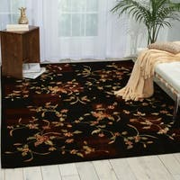 Nourison Chambord Black Floral Rug - 7'6 x 9'6