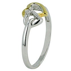 14k Gold and Sterling Silver Diamond Accent Heart Ring - Thumbnail 1