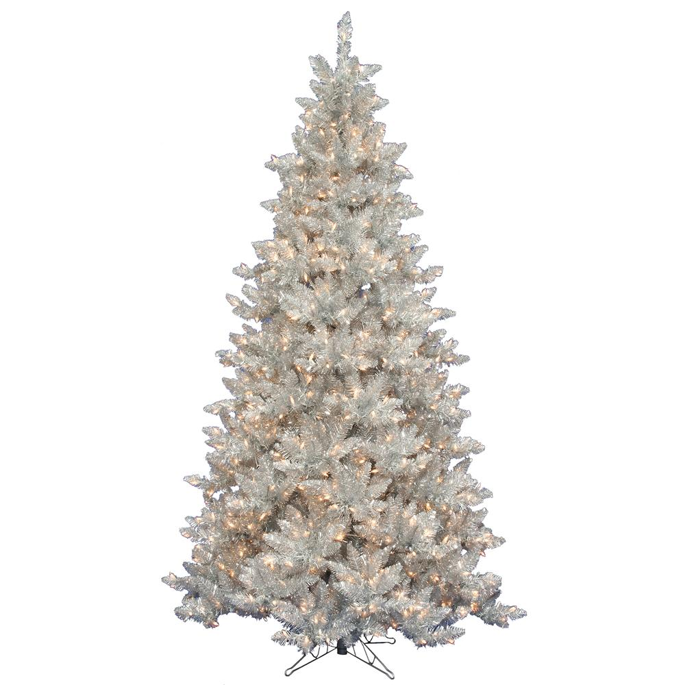 Slim Silver Tinsel 7.5-foot Tree