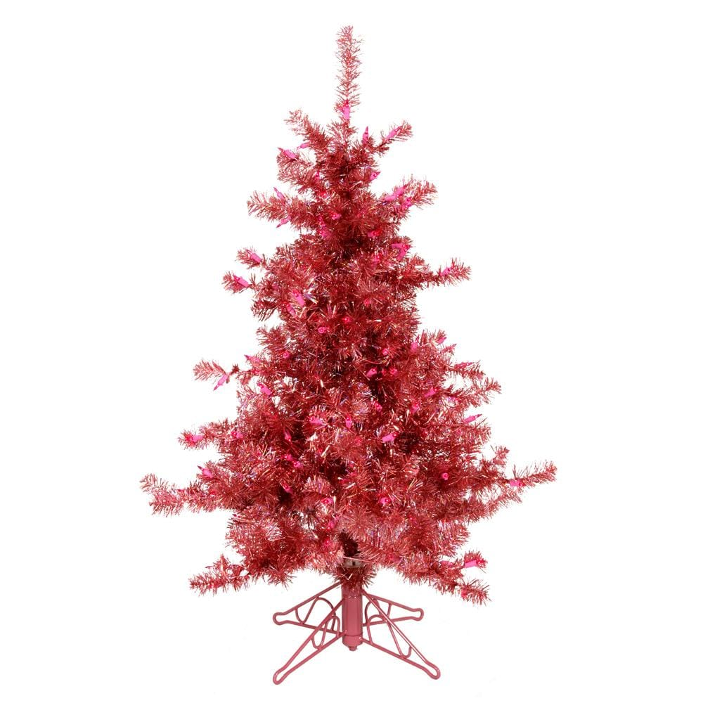 Slim 7.5-foot Red Tinsel Holiday Tree