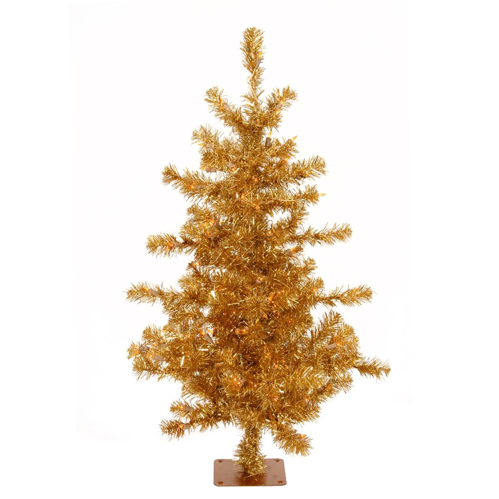 Superior 4 Foot Slim Christmas Tree #1: Slim-4.5-foot-Gold-Tinsel-Holiday-Tree-L13919805.jpg