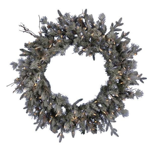 """36"""" Pre-Lit Frosted Wistler Fir Artificial Christmas Wreath - Clear Dura Lights"""