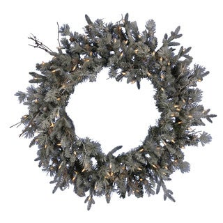 "36"" Pre-Lit Frosted Wistler Fir Artificial Christmas Wreath - Clear Dura Lights"