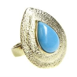 Adee Waiss Gold Overlay Magnesite Turquoise Teardrop Ring
