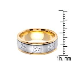 14k Two-tone Gold Men's Celtic Knot Design Wedding Band