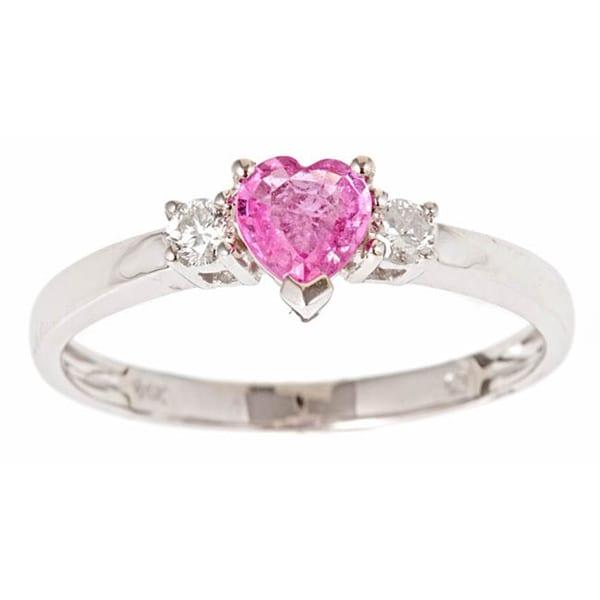 Anika and August 14k Gold Ceylon Pink Sapphire and 1/10ct TDW Diamond Ring (G-H, I1-I2)