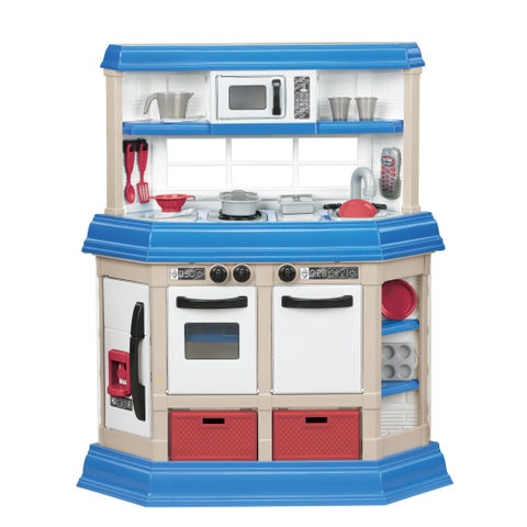 American Plastic Toys Blue/White Plastic Cookin Kitchen Play Set with Realistic Burners