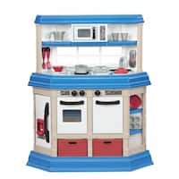 American Plastic Toys Cookin Kitchen Play Set with Realistic Burners - White