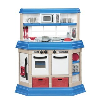 """American Plastic Toys Cookin' Kitchen Play Set with Realistic Burners - Blue/White - 8'2"""" x 10'"""