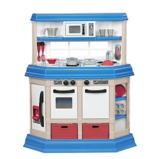 American Plastic Toys Cookin Kitchen Play Set With Realistic Burners   White
