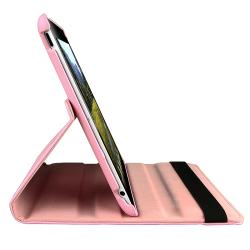 Pink Swivel Leather Case/ Anti-glare Screen Protector for Apple iPad 2 - Thumbnail 1