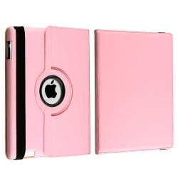 Pink Swivel Leather Case/ Anti-glare Screen Protector for Apple iPad 2 - Thumbnail 2