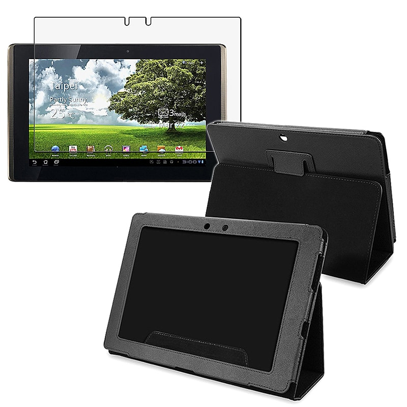 Black Leather Case/ Screen Protector for Asus EEE Pad Transformer