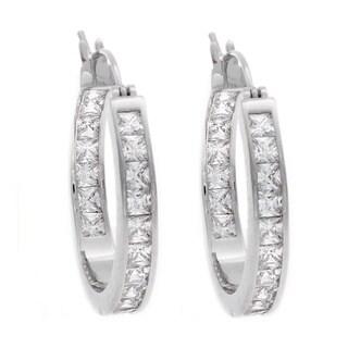 NEXTE Jewelry Silvertone Cubic Zirconia Hoop Earrings