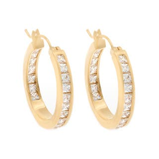 Nexte Jewelry Gold Overlay Cubic Zirconia Hoop Earrings|https://ak1.ostkcdn.com/images/products/6287324/P13920136.jpg?impolicy=medium