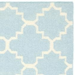 Safavieh Handwoven Moroccan Reversible Dhurrie Light Blue/ Ivory Wool Area Rug (3' x 5')