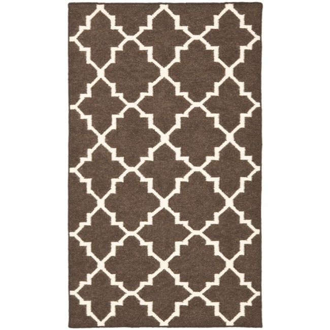 Safavieh Hand-woven Moroccan Reversible Dhurrie Brown/ Ivory Wool Rug (3' x 5') - Thumbnail 0