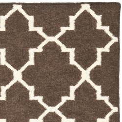 Safavieh Hand-woven Moroccan Reversible Dhurrie Brown/ Ivory Wool Rug (3' x 5') - Thumbnail 1