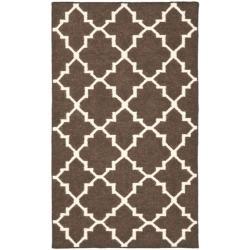 Safavieh Hand-woven Moroccan Reversible Dhurrie Brown/ Ivory Wool Rug (3' x 5')
