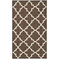Safavieh Hand-woven Moroccan Reversible Dhurrie Brown/ Ivory Wool Rug - 3' x 5'