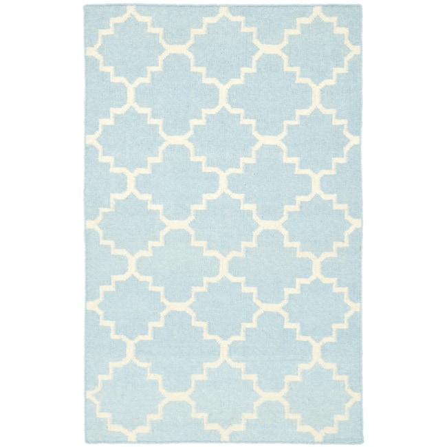 Safavieh Hand-woven Moroccan Reversible Dhurrie Light Blue/ Ivory Wool Area Rug (4' x 6')