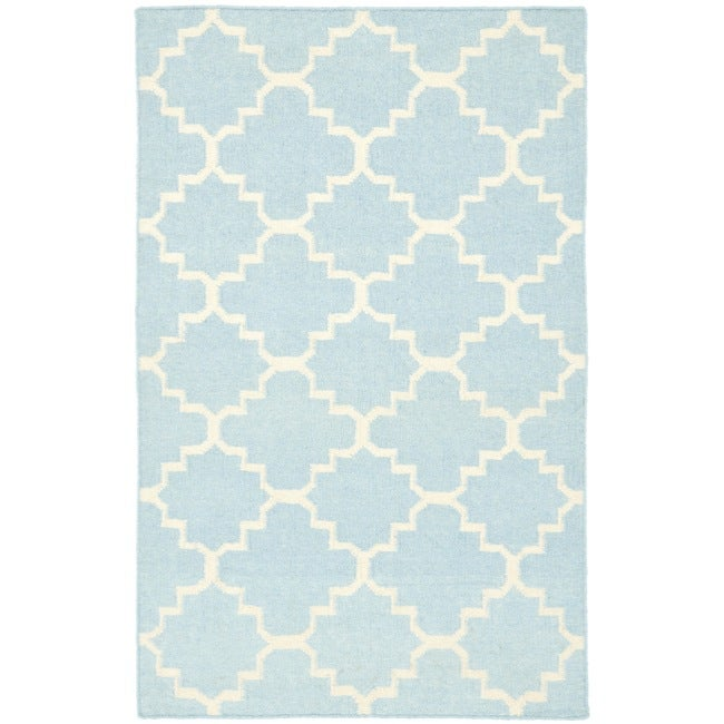 Safavieh Hand Woven Moroccan Reversible Dhurrie Light Blue Ivory Wool Area Rug 4