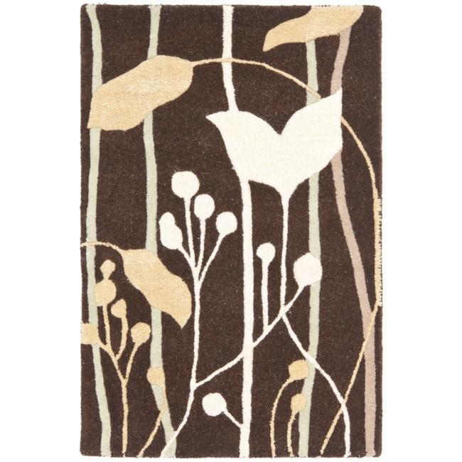 Safavieh Handmade New Zealand Wool Gardens Dark Brown Rug (2' x 3')