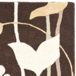 Safavieh Handmade New Zealand Wool Gardens Dark Brown Rug (2' x 3') - Thumbnail 1