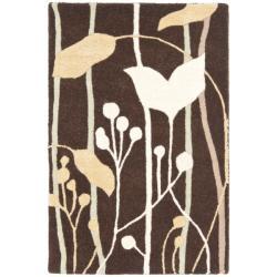 Safavieh Handmade New Zealand Wool Gardens Dark Brown Rug (2' x 3') - 2' x 3' - Thumbnail 0