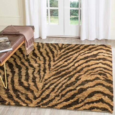 Safavieh Hand-knotted Vegetable Dye Tiger Beige/ Black Rug - 6' x 6' Square
